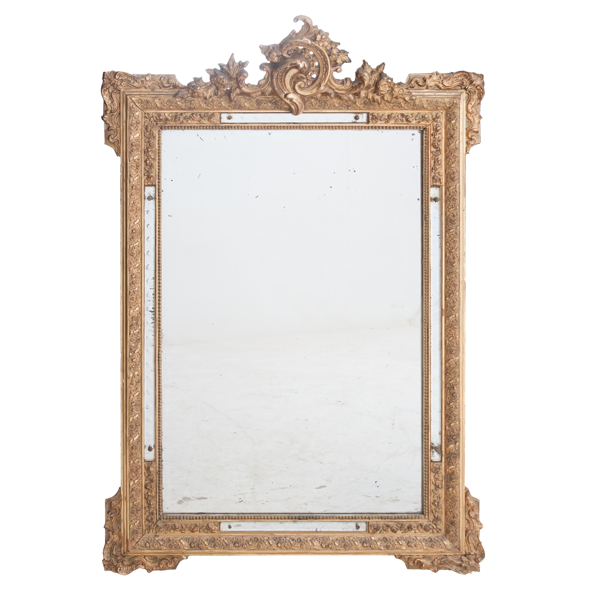 French 19th Century Rococo Style Gilt Mirror With Applique