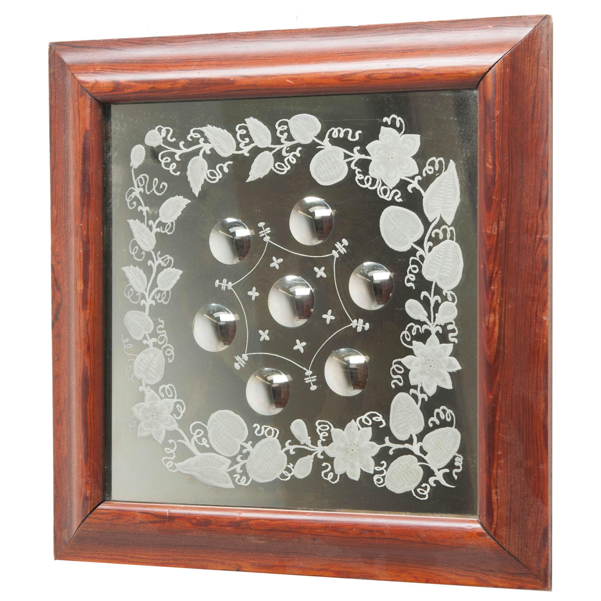 English 19th Century Square Framed Bullseye Mirror