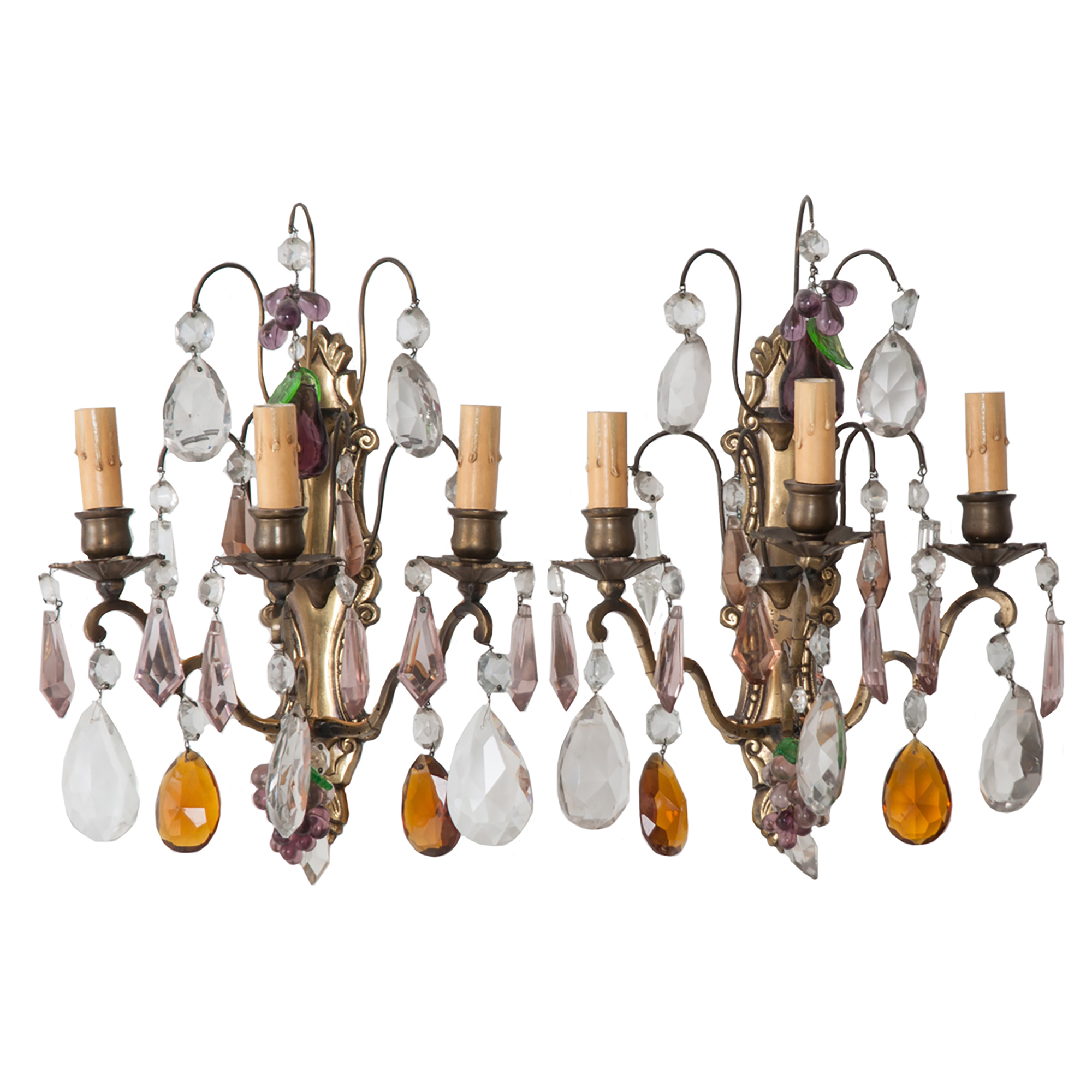 Image of: Pair Of Spanish 19th Century Brass And Crystal Wall Sconces Fireside Antiques