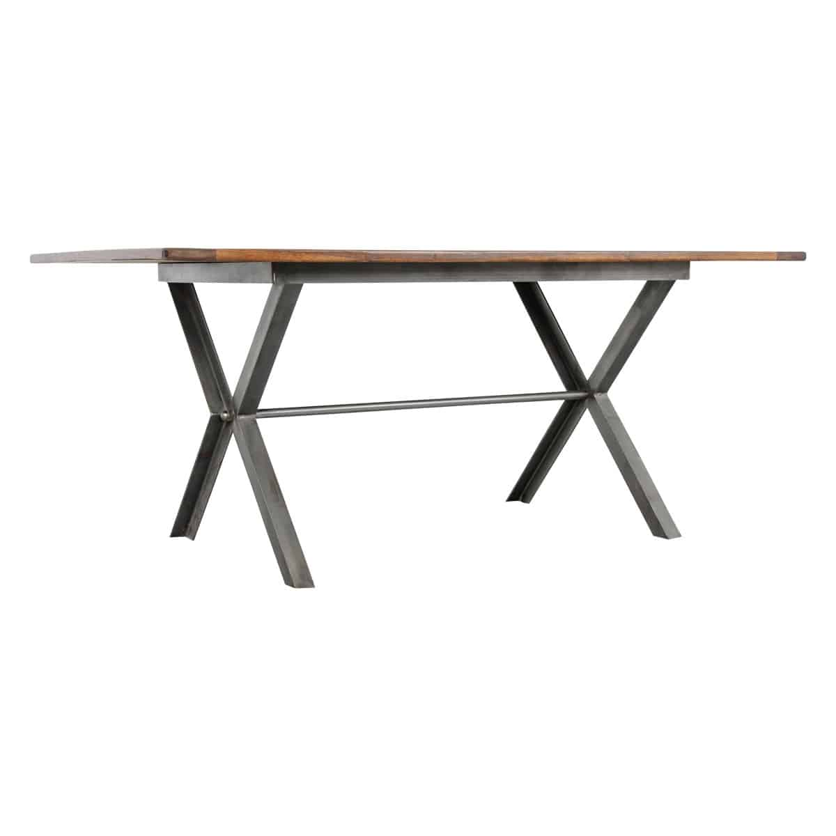 Walnut Iron X Base Dining Table, X Base Dining Room Table